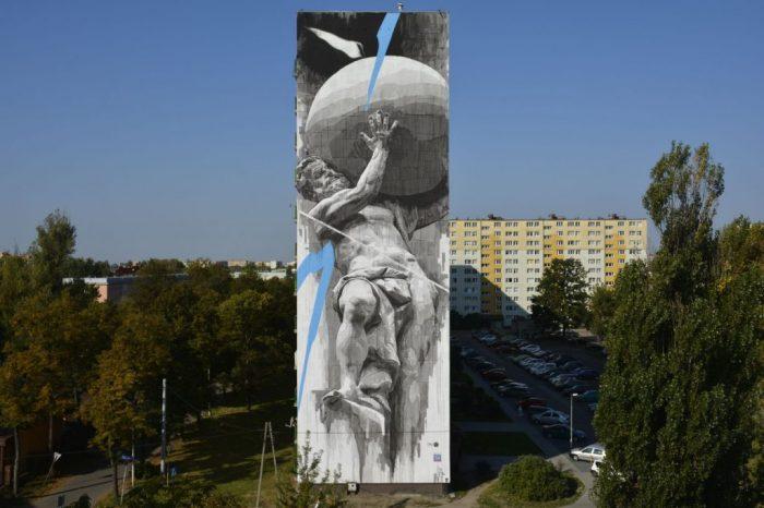 Mural na Bałutach w Łodzi - bomber