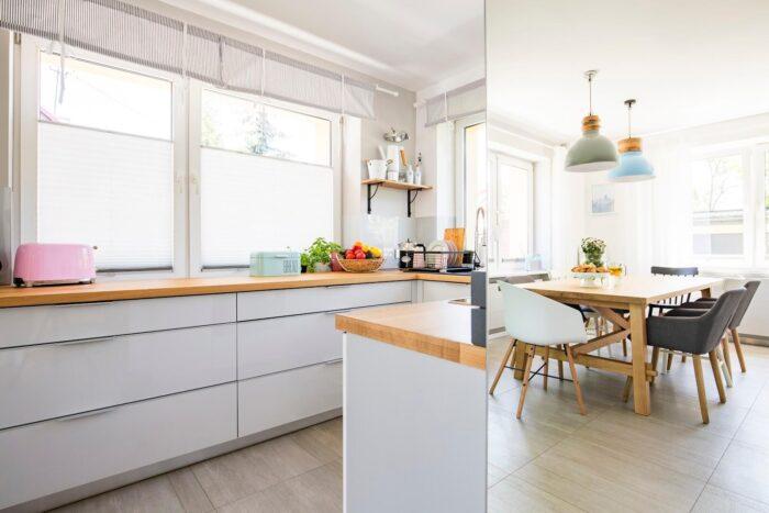 okna w kuchni i jadalni