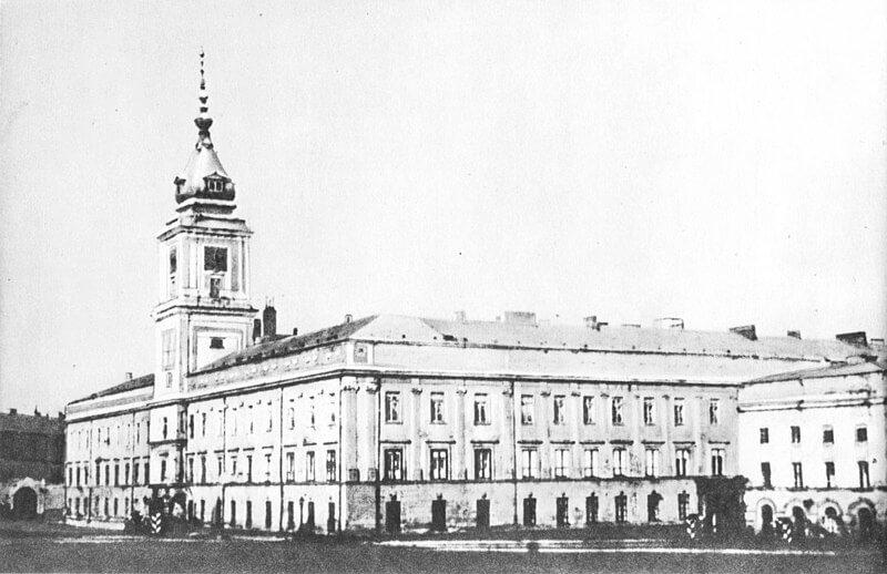 Widok na Zamek Królewski w Warszawie około 1860 roku.