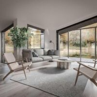 nowoczesne domy w lesie, inspiracje wnętrza